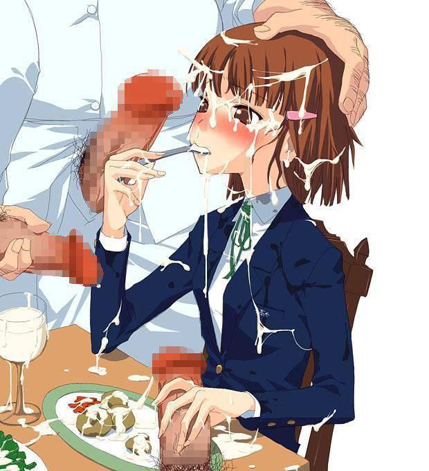 【食ザー】精液ぶっかけた食べ物を無理矢理食わされてる二次エロ画像【19】