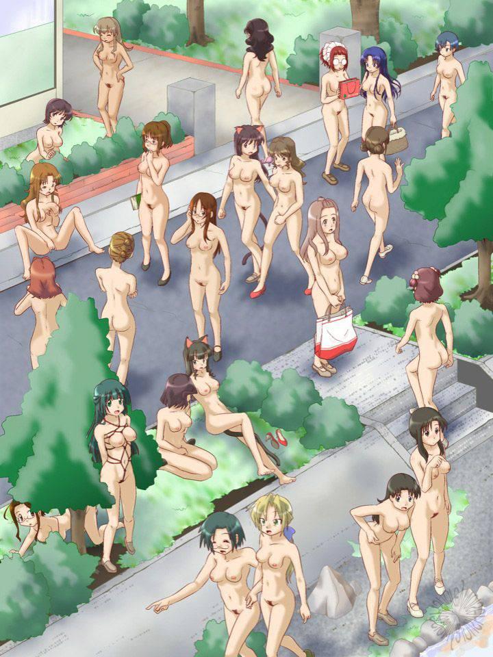 【ヌーディスト】恥じらい無く人前で全裸になってる二次野外露出画像【22】