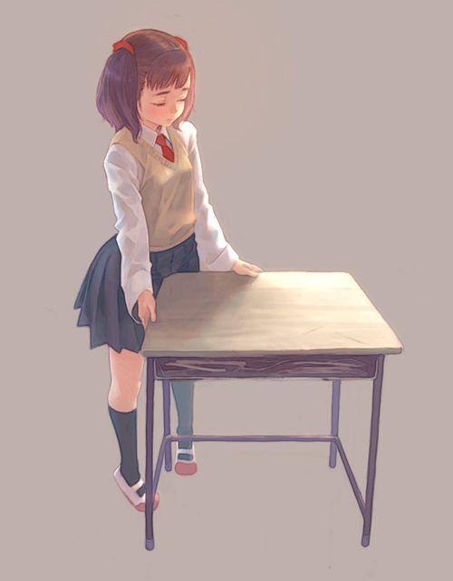 【多分好きな男の子の】学校の机で擦り付けオナニーしてるJS・JC・JKの二次エロ画像【29】