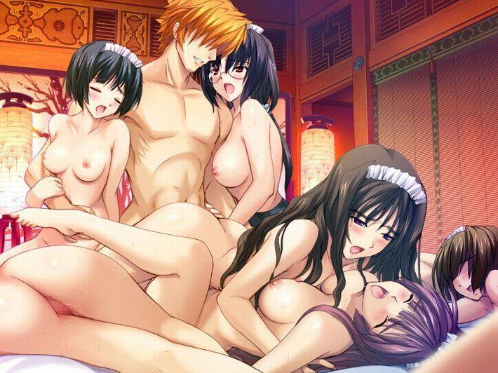 【酒池肉林】5人以上の女の子に囲まれてる超ハーレム状態な二次エロ画像【37】