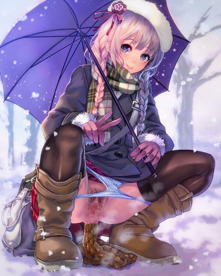 【雪見オナニー】雪景色の中で野外露出してる二次エロ画像【1】