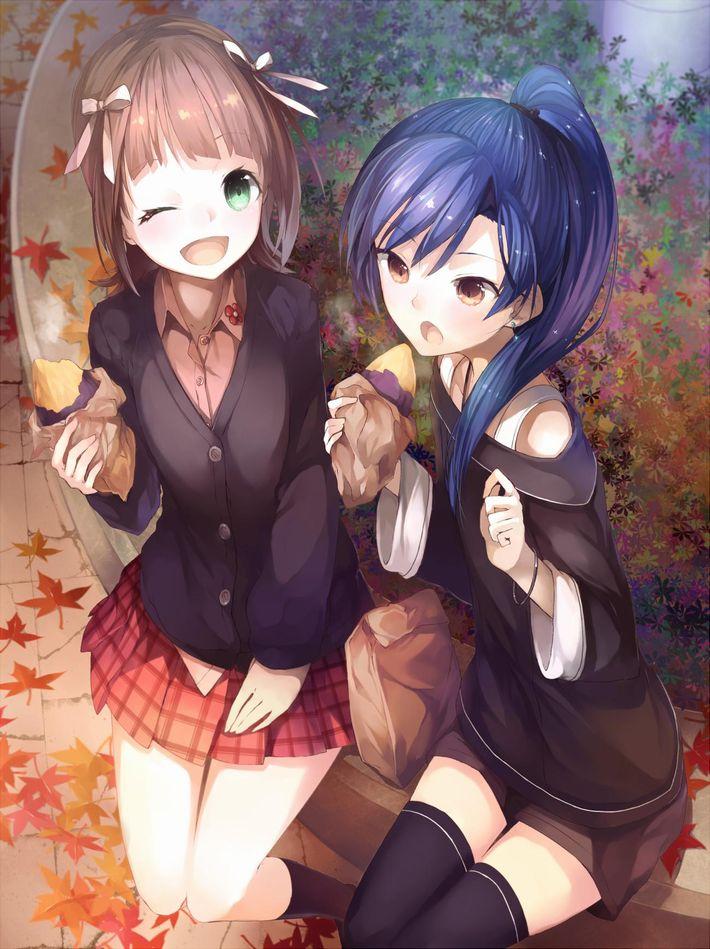 【即堕ち2コマ】焼き芋食べてる女の子の画像とオナラしてる女の子の画像を交互に眺める二次エロ画像【33】