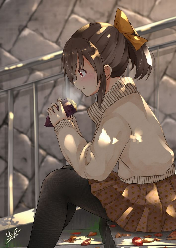 【即堕ち2コマ】焼き芋食べてる女の子の画像とオナラしてる女の子の画像を交互に眺める二次エロ画像【43】