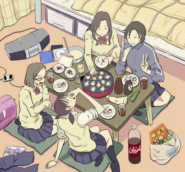 【楽しい食卓】友達同士で仲良くご飯食べてる二次画像【18】