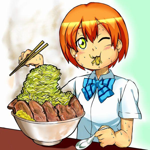 【二次】女の子がラーメン二郎食ってる画像【全マシマシ】
