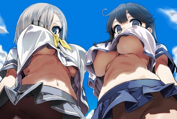 【二次おっぱい画像】「鏡餅が二つある!?」巨乳おっぱいを下から見上げたエロ画像【6】