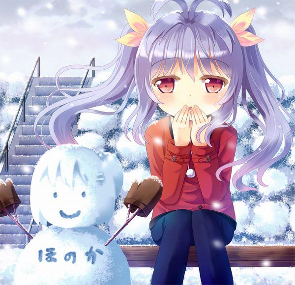 【冬の風物詩】雪だるま作ってる女子達の二次画像【5】