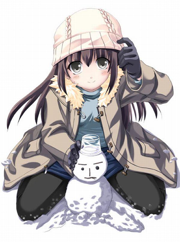 【冬の風物詩】雪だるま作ってる女子達の二次画像【34】