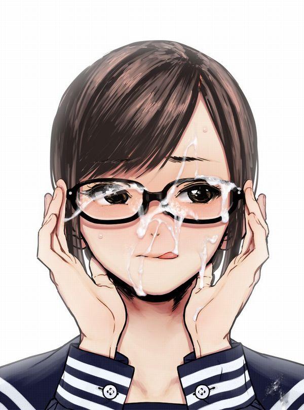 【賢い】メガネかけた女子達が顔射されてる二次エロ画像【36】