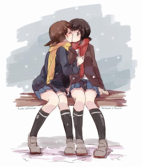 【記念すべき一歩】女の子同士でキスしてるレズキス二次画像【33】