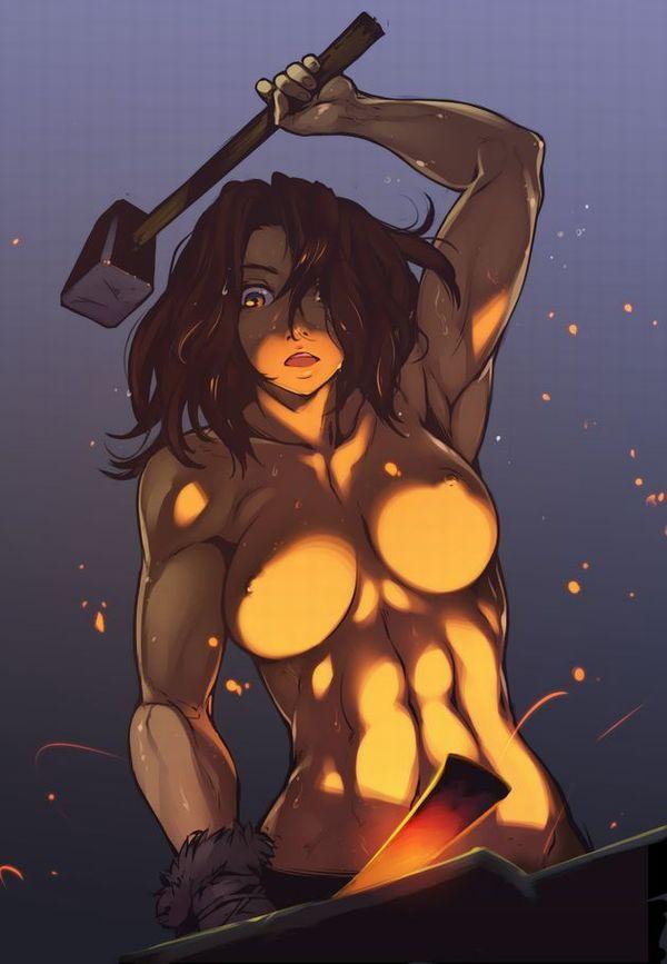 【筋肉】ボディービルダーみたいな体した筋肉質な褐色女子の二次エロ画像 【23】