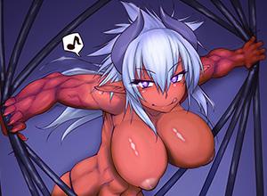 【筋肉】ボディービルダーみたいな体した筋肉質な褐色女子の二次エロ画像