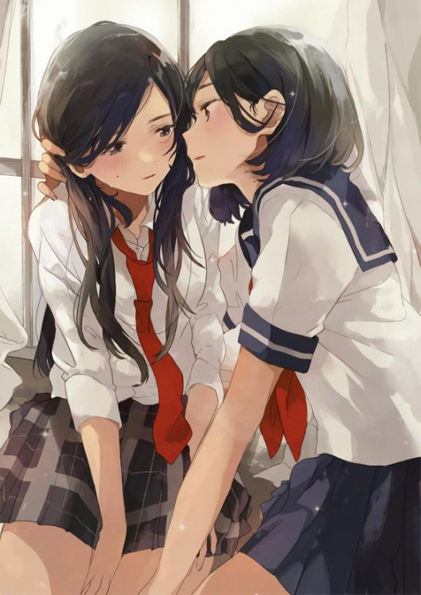 【女子校あるある】学校内でレズってるJKカップルの二次エロ画像