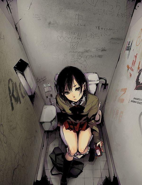 【青春の思い出】学校の女子便所でオシッコしてるJC・JK達の二次エロ画像