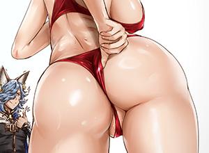 【ワンポイント】お尻の魅力がより引き立つTバック立ち姿の二次エロ画像