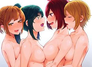 【生乳編】女の子同士でおっぱい押し付けあってる乳合わせの二次エロ画像