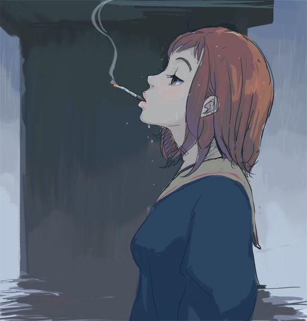 【ちょっと一服】タバコ吸ってる女の子の二次画像 【28】