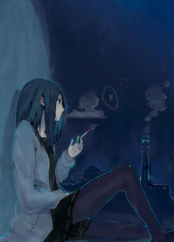 【ちょっと一服】タバコ吸ってる女の子の二次画像 【29】