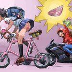 【通勤・通学】自転車パンチラの二次エロ画像