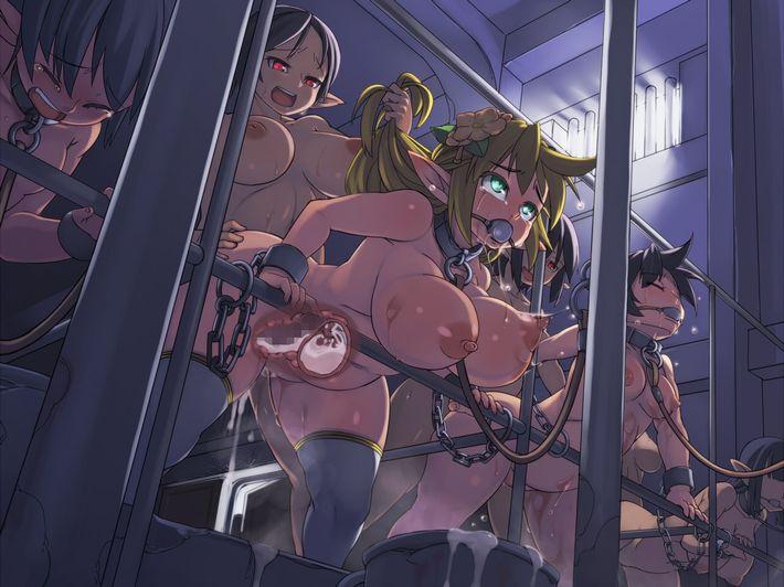 【人権なんて無い】性奴隷達が家畜のように並んでいる悲惨な二次エロ画像【1】