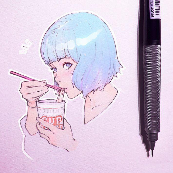【王道を往く】カップヌードルを食べてる女の子達のエロ画像【32】