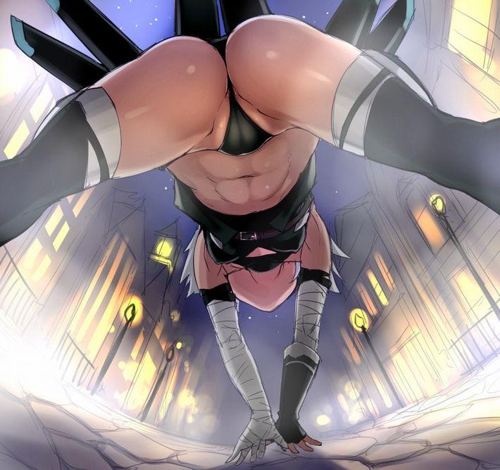 【ハミ出す尻肉】Tバック履いてる女の子をローアングルで眺める二次エロ画像【13】
