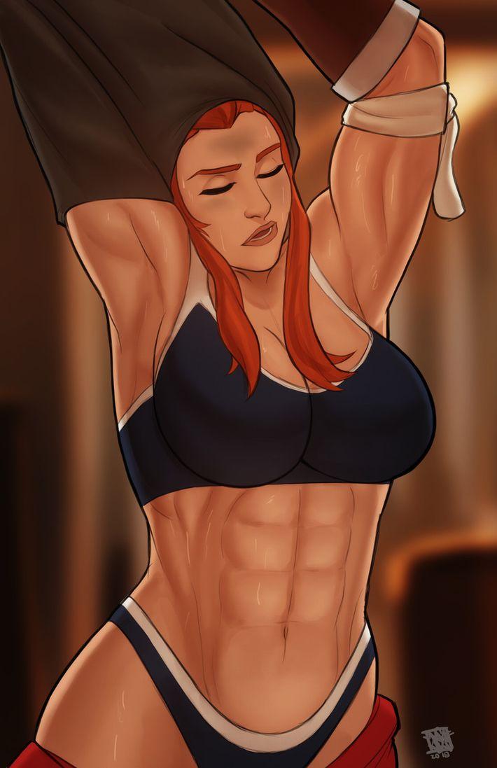 【腹筋マシーンのお陰】綺麗に割れた腹筋を持つ女子達の二次エロ画像【OMG】【31】