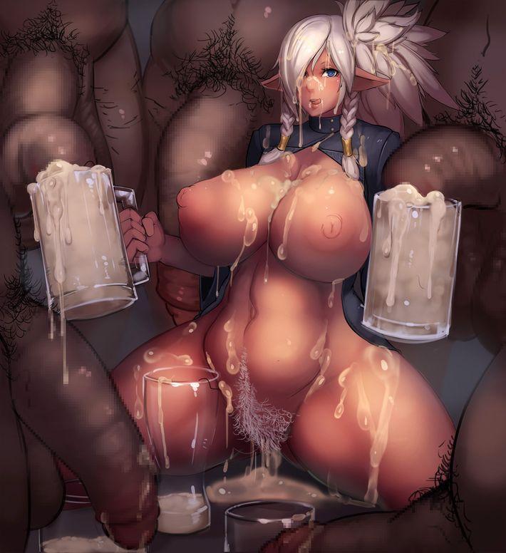 【イッキ!イッキ!】ビールジョッキ等に溜まったザーメン飲んでる女子の二次エロ画像【1】