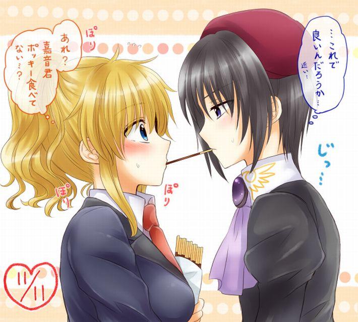 【微エロ】女の子同士でポッキーゲームしてる二次画像【16】