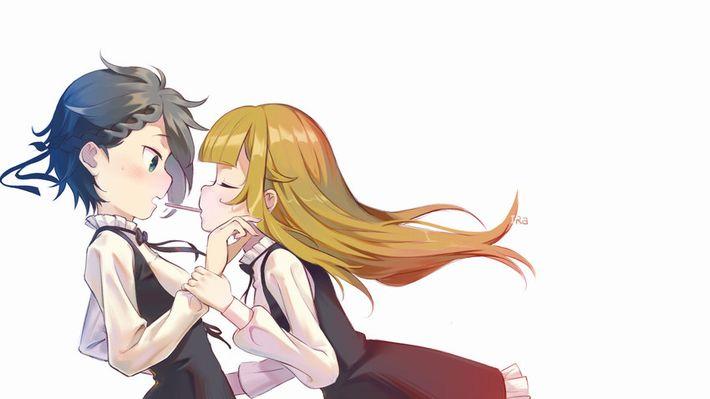 【微エロ】女の子同士でポッキーゲームしてる二次画像【27】