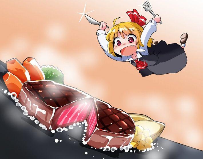 【肉欲】ステーキを頬張る女子達の二次画像【15】