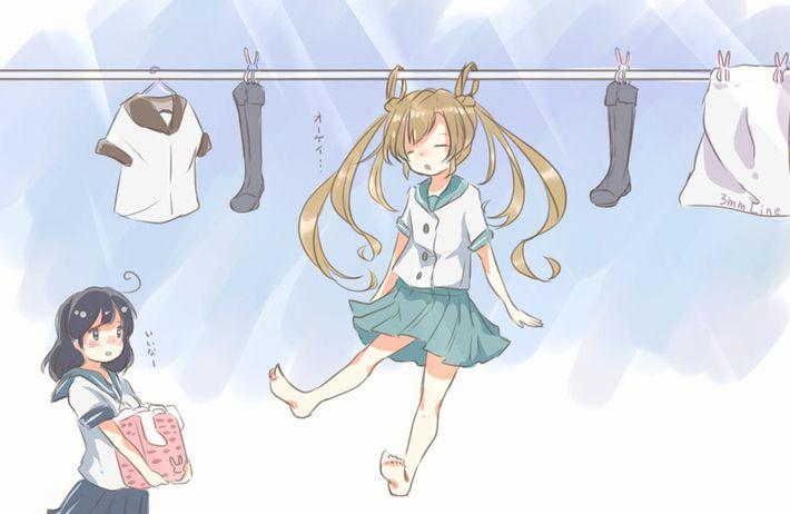 【今日は良い天気】洗濯物を干してる美少女達の二次画像【10】