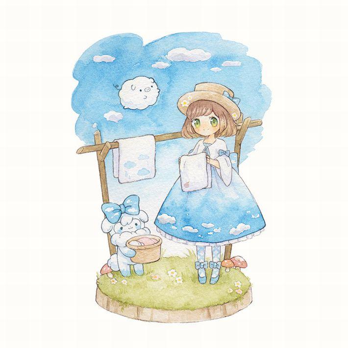 【今日は良い天気】洗濯物を干してる美少女達の二次画像【15】