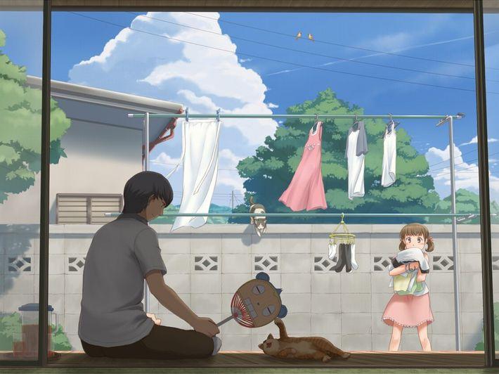 【今日は良い天気】洗濯物を干してる美少女達の二次画像【19】