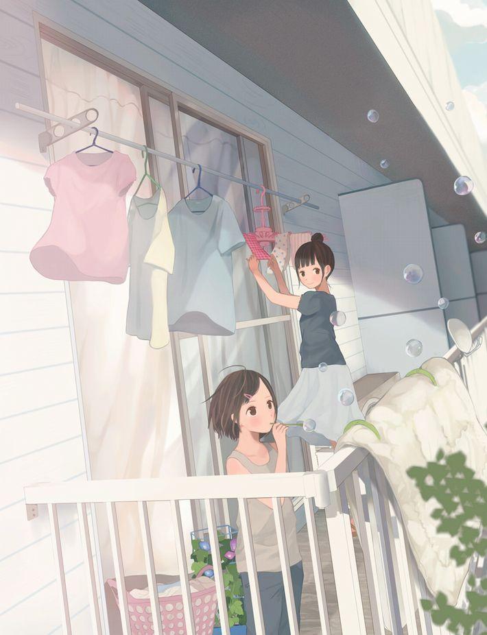 【今日は良い天気】洗濯物を干してる美少女達の二次画像【22】