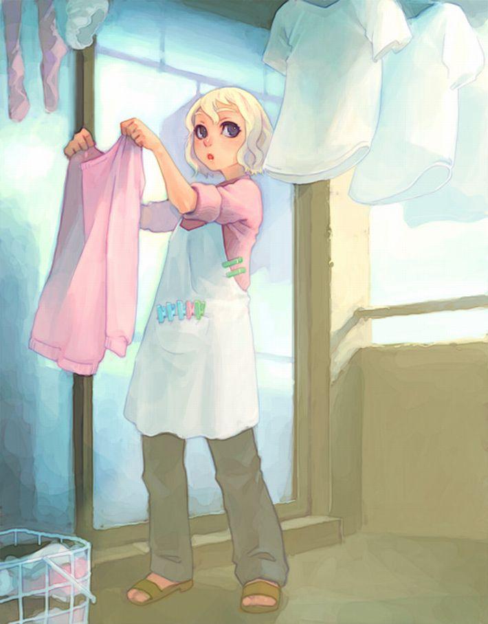 【今日は良い天気】洗濯物を干してる美少女達の二次画像【36】