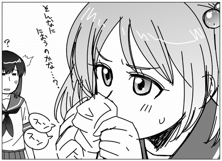 【エロ漫画のお約束】下着のニオイ嗅いでオナってたらバレた!な二次エロ画像【13】
