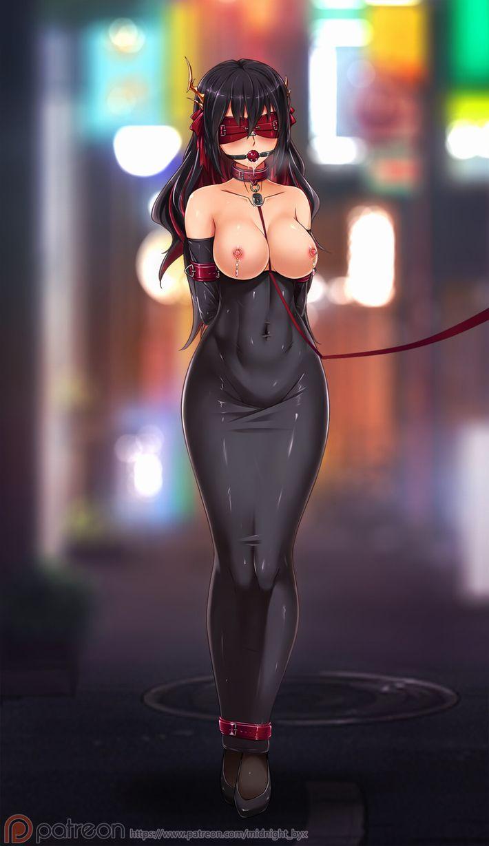 【奴隷の証】黒光りするボンデージに身を包んだM女の二次エロ画像【19】