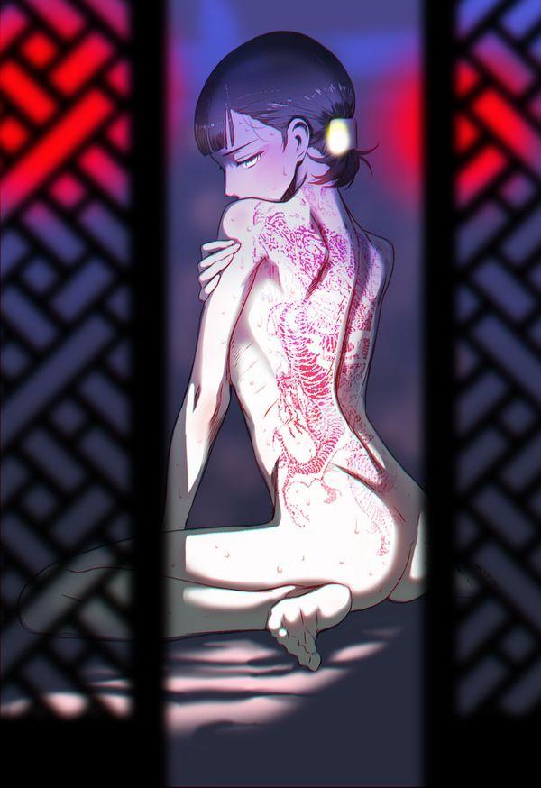 【背中に地図が!】背中にタトゥー入ってる女子達の二次エロ画像【4】