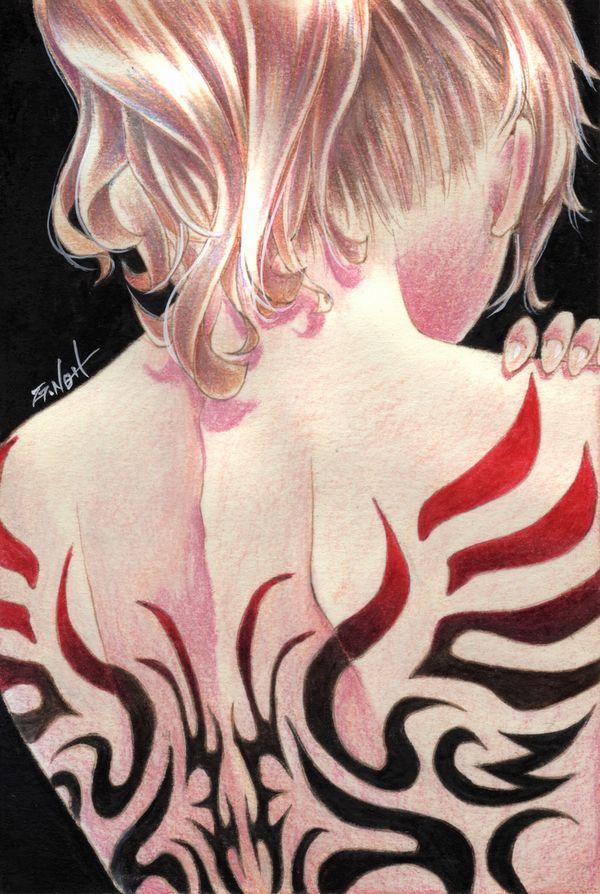 【背中に地図が!】背中にタトゥー入ってる女子達の二次エロ画像【10】