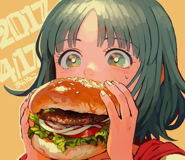 【ノーノー】ハンバーガー食べてる女の子達の二次画像【ヘンブゥーグゥ~】【1】