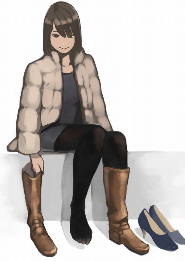 【絶対臭い】片方だけブーツ脱いでる女子達の二次エロ画像【24】