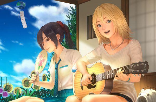 【駐車場のネコは】アコースティックギターと女の子の二次画像【あくびをしながら】【1】
