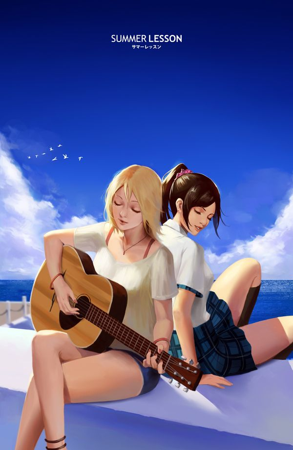 【駐車場のネコは】アコースティックギターと女の子の二次画像【あくびをしながら】【2】