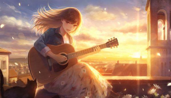 【駐車場のネコは】アコースティックギターと女の子の二次画像【あくびをしながら】【17】
