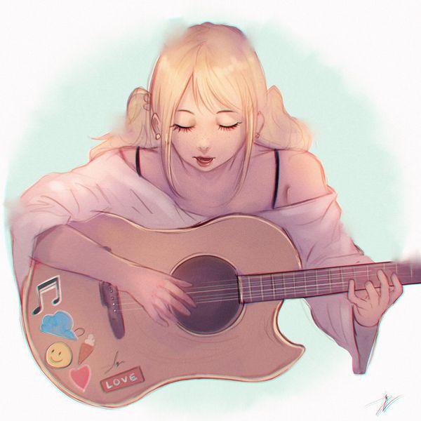【駐車場のネコは】アコースティックギターと女の子の二次画像【あくびをしながら】【30】