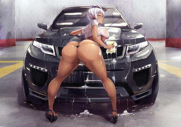 【アメリカンビッチ】美女がエロい格好で洗車してる二次エロ画像【5】