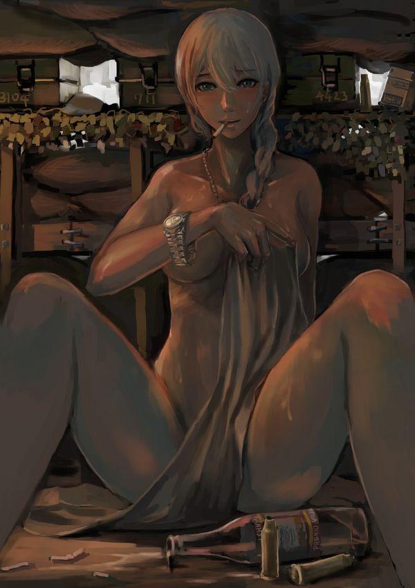 【事後の一服】裸でタバコ吸ってる女子の二次エロ画像【12】