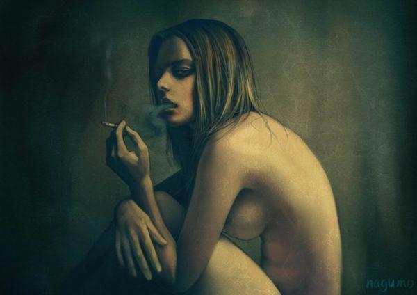 【事後の一服】裸でタバコ吸ってる女子の二次エロ画像【34】