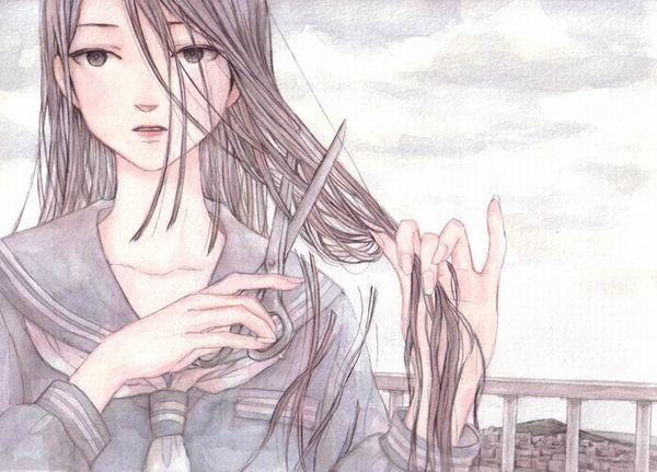 【切りすぎ注意】前髪等のセルフカットに挑戦する女子達の二次画像【26】